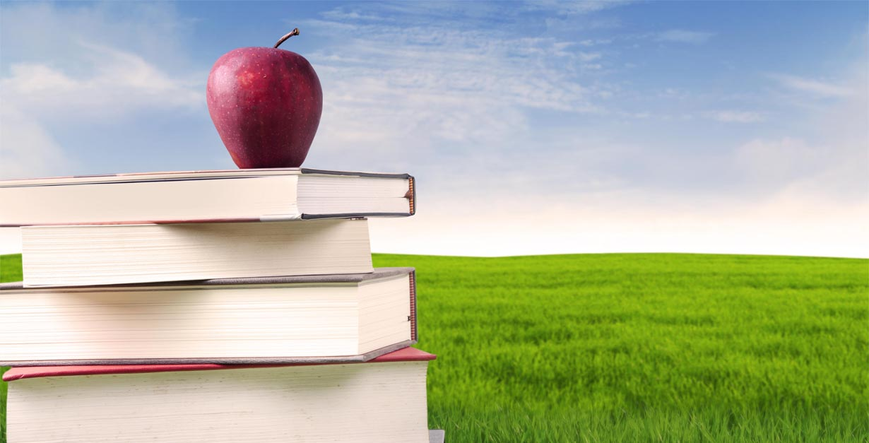 An image of a stack of books with an Apple on top.